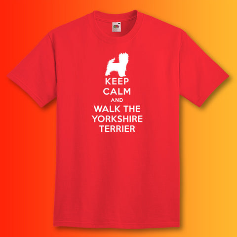 Keep Calm and Walk The Yorkshire Terrier T-Shirt Red