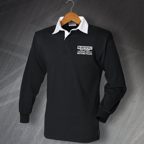 Motorcycle Rugby Shirt Embroidered Long Sleeve Warning May Start Talking About Motorcycles