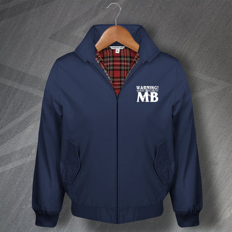 Warning May Start Talking About My MB Embroidered Classic Harrington Jacket