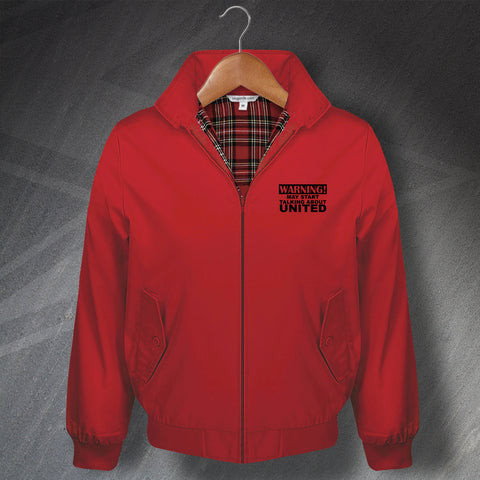 United Football Harrington Jacket Embroidered Warning May Start Talking About United