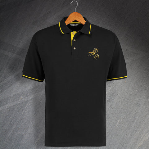 Wasps Rugby Polo Shirt Embroidered Contrast 1867