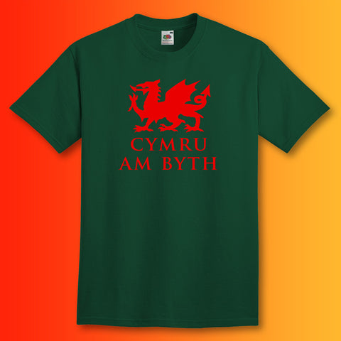 Welsh Dragon T-Shirt Bottle Green