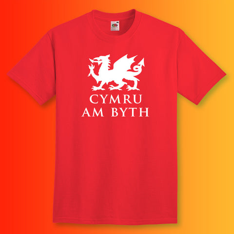 Welsh Dragon Unisex T-Shirt with Cymru am byth Design