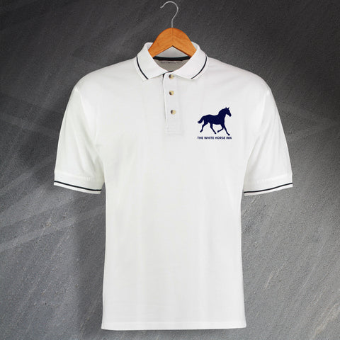 The White Horse Pub Polo Shirt Embroidered Contrast Silhouette