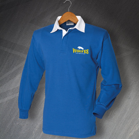 Warrington Rugby Shirt Embroidered Long Sleeve Wolves It's a Way of Life