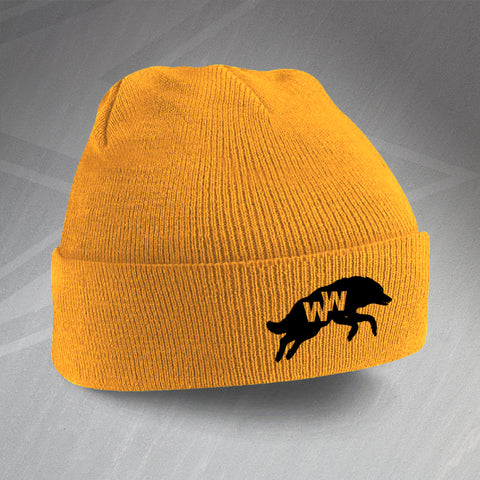 Wolves Football Beanie Hat Embroidered 1970s