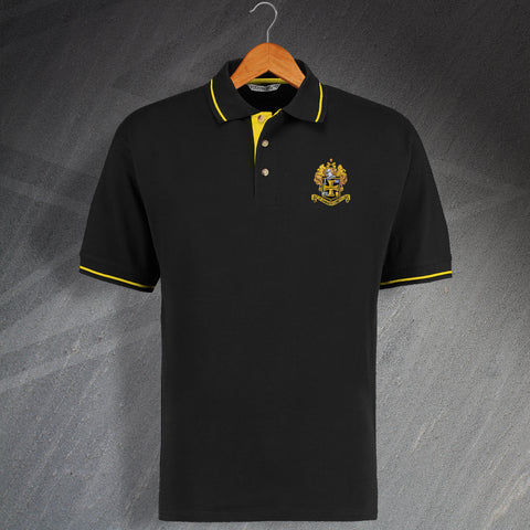 Retro Wolves Contrast Polo Shirt with Embroidered 1921 Badge