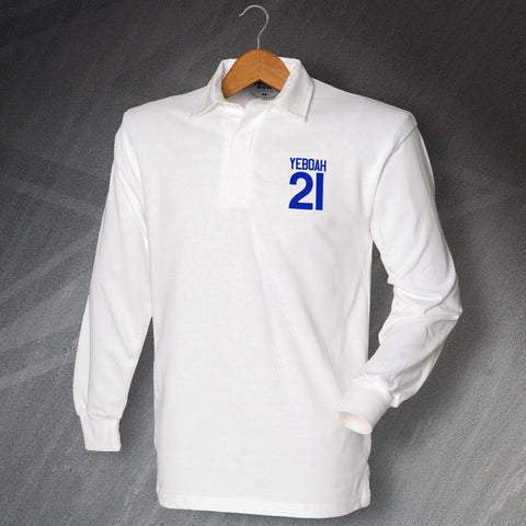 Leeds Football Shirt Embroidered Long Sleeve Yeboah 21