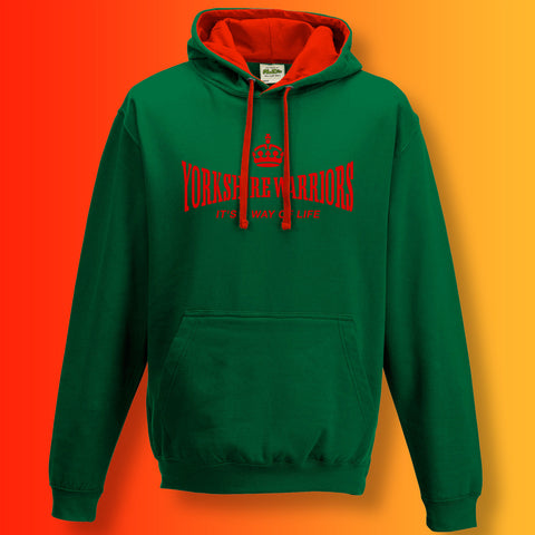 The Yorkshire Warriors Contrast Hoodie with It's a Way of Life Design