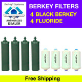 4 Black Berkey Filters & 4 Fluoride Filters - Free Shipping - Brand New