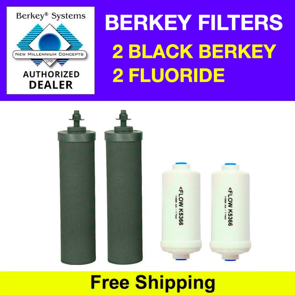 2 Black Berkey Filters & 2 PF-2 Fluoride Filters - Free Shipping - Brand New