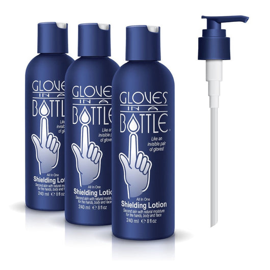 Gloves in a Bottle Shielding Lotion 8 Ounce (3-Pack w/Pump)