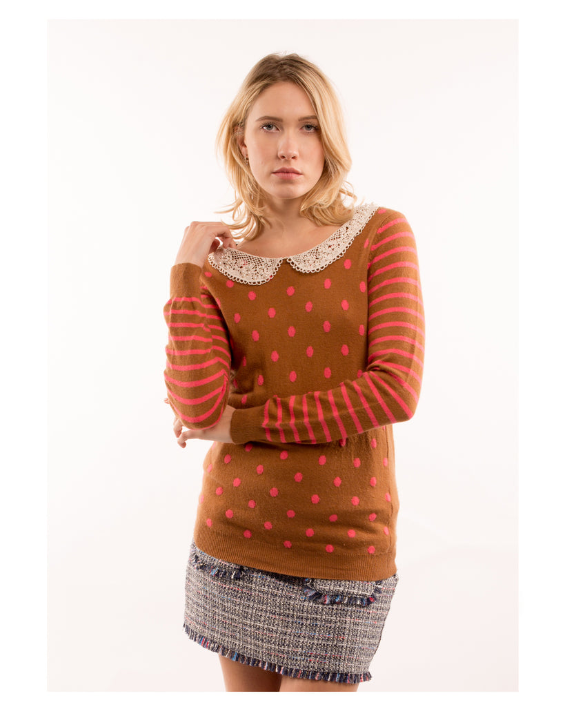 Dot With Crochet Collar Jumper