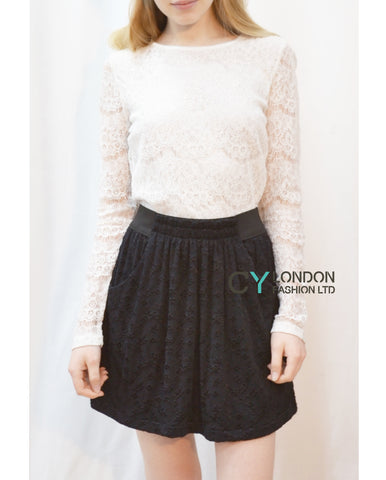 Floral Embroidered Lace Skater Skirts