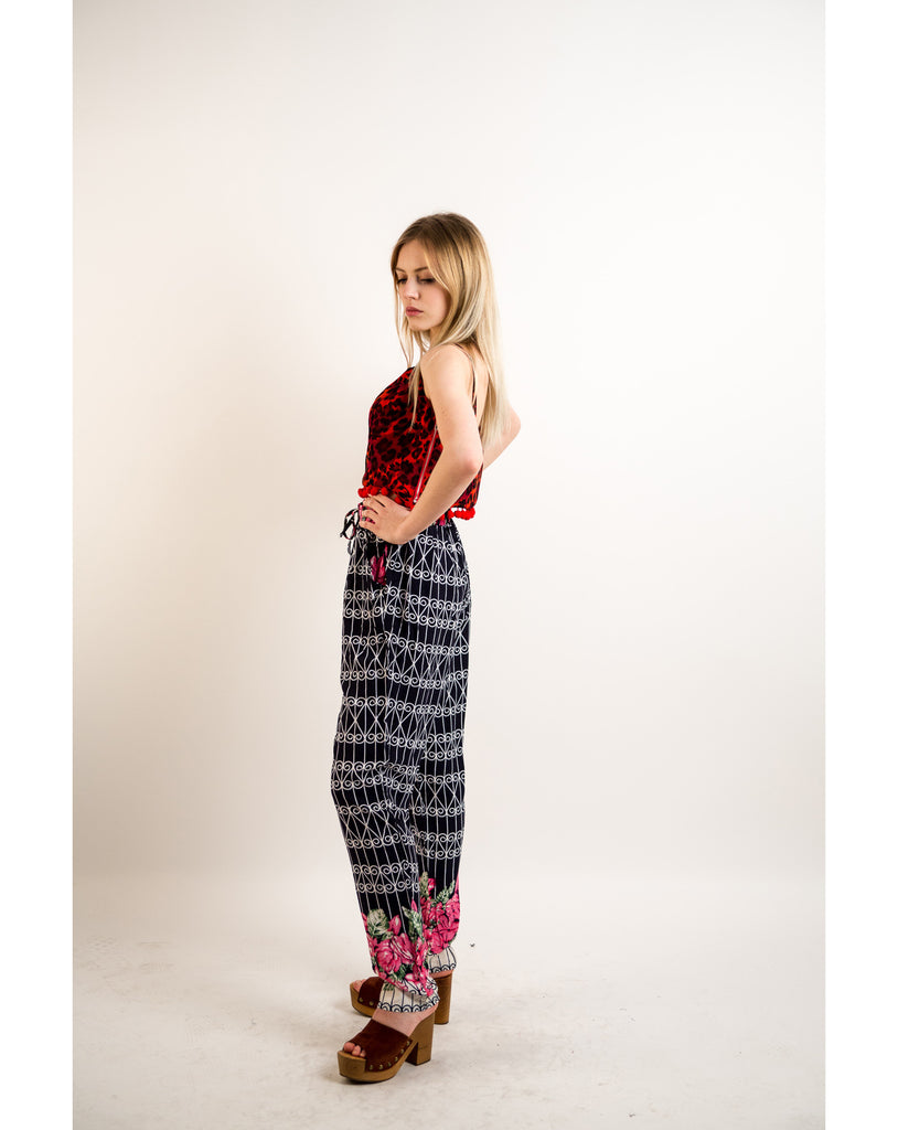 Stripe & Floral print elasticated waist Cotton Trousers