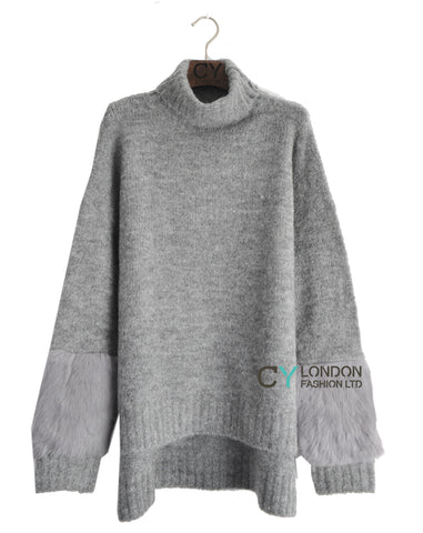 Fur sleeves design Jumper