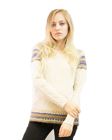 Aztec Ribbed knitted cream jumper