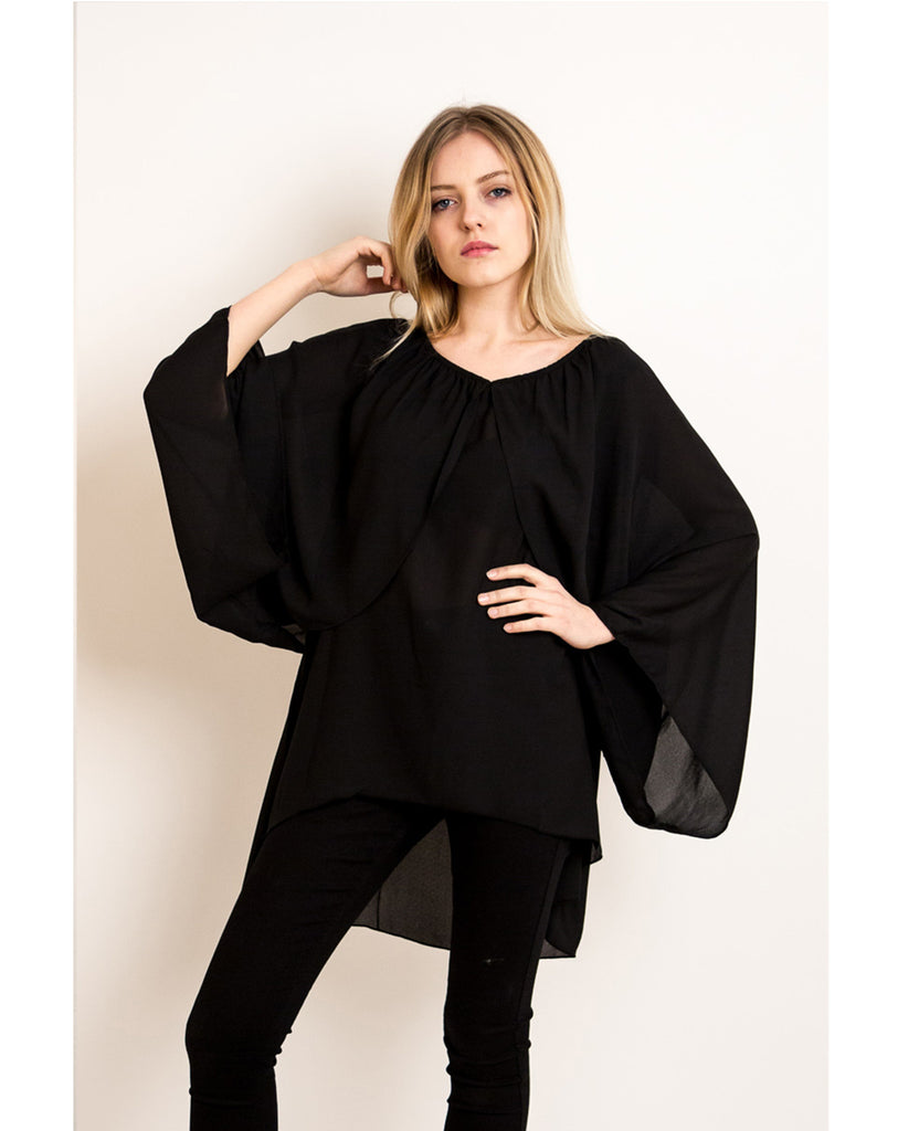 Chiffon Long Sleeves Cape Top (Black)