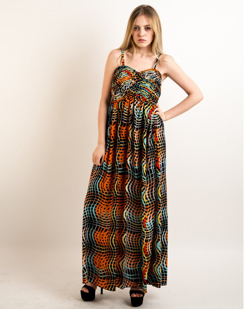 Printed Chiffon Maxi Dress KK6228 (BLACK STRIPE PRINT)