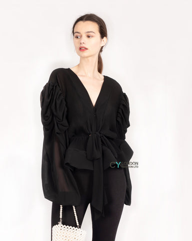 Black Frill sleeves blouse bow tie up front with mesh hem