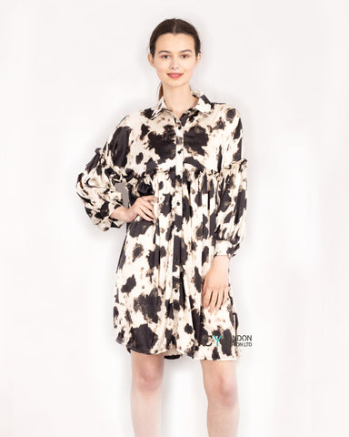 Black white Big leopard print oversized Silky dress