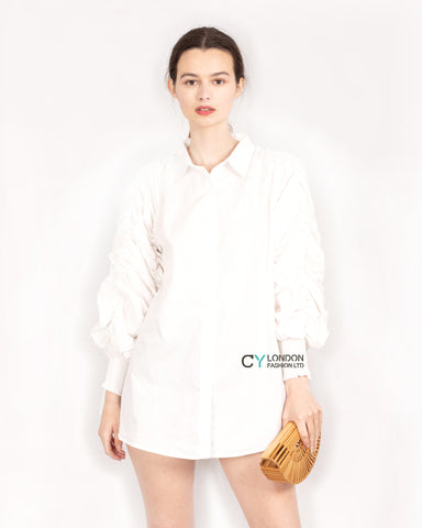 Cotton shirt with Ruched Sleeve in white