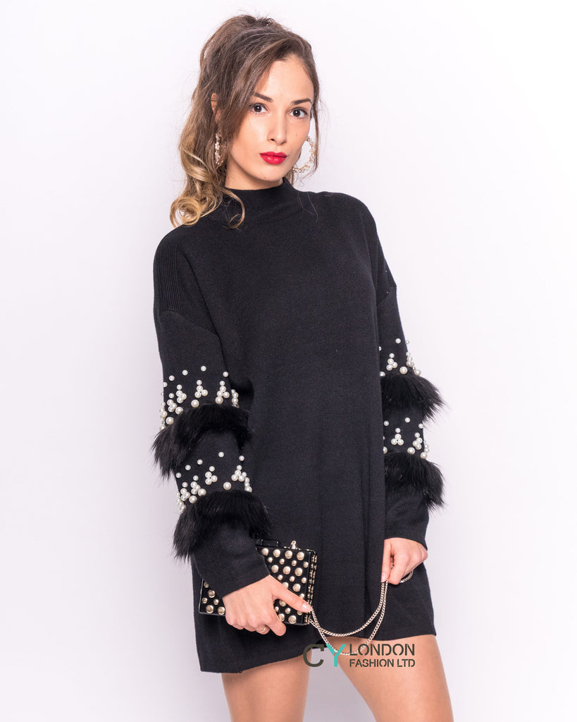 Pearl and Fur sleeves design Jumper