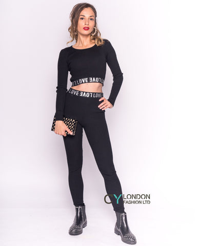 Cropped top and leggings set in black