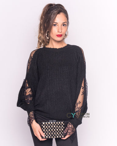 Lace sleeves and cut out design jumper