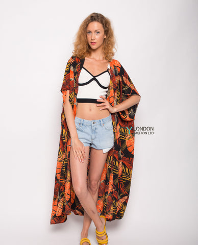 Multi leaves print kaftan cardigan