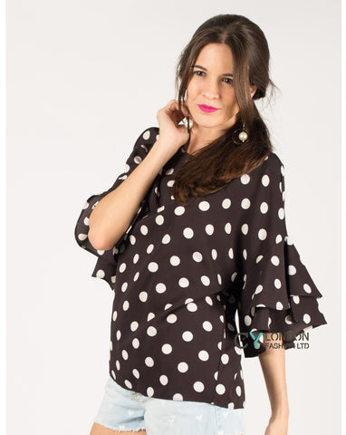 Dot Dot Print Frilled sleeves Top