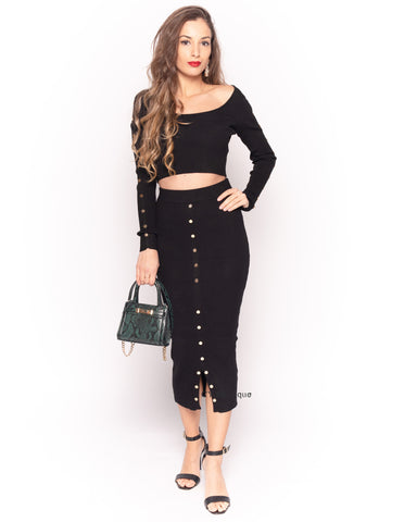 Fine knit crop top and midi skirt co-ords suits