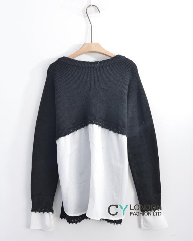 Plain jumper with shirt design
