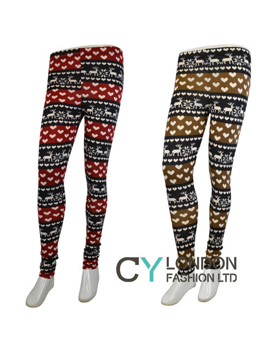 Reindeer Pattern Knitted Leggings Cylondon