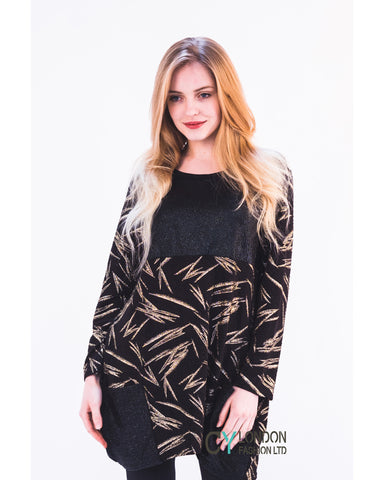 Gold color Leaves' print oversize top