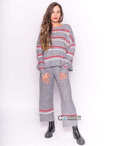 Knit Jumper & Trousers Co-ord with Stripes