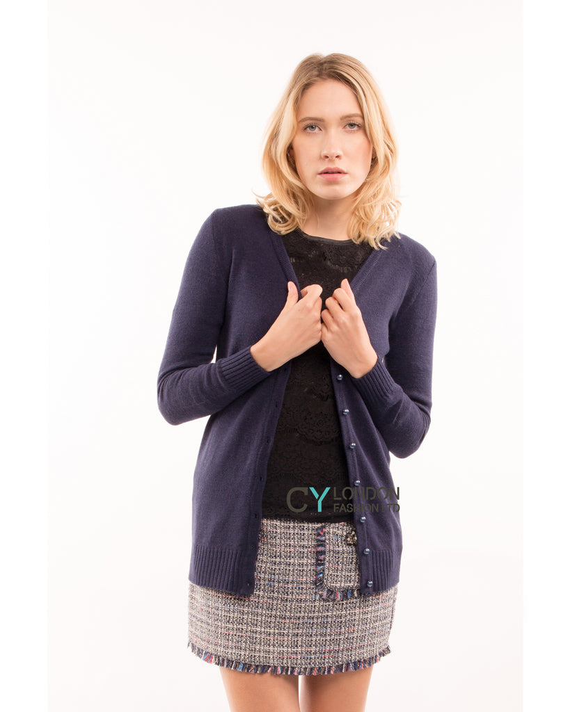 Plain color basic knitted cardigan