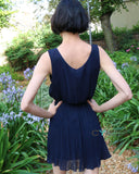 Navy blue chiffon pleated short dress