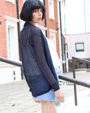 Relax Holiday fine knitted cardigan (Navy)