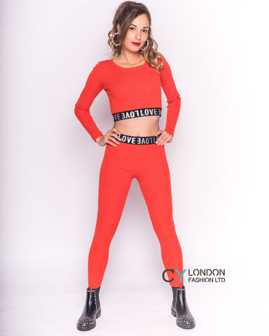 Cropped top and leggings set in orange