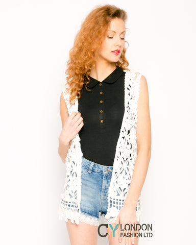 Floral Pattern Crochet Cardigan (73A)