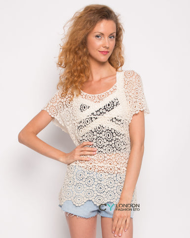 Floral pattern Crochet Top(Cream)
