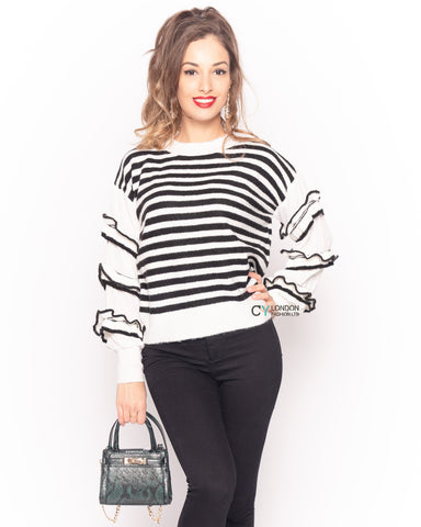 Multi layer ruffle sleeves black white color stripe jumper top