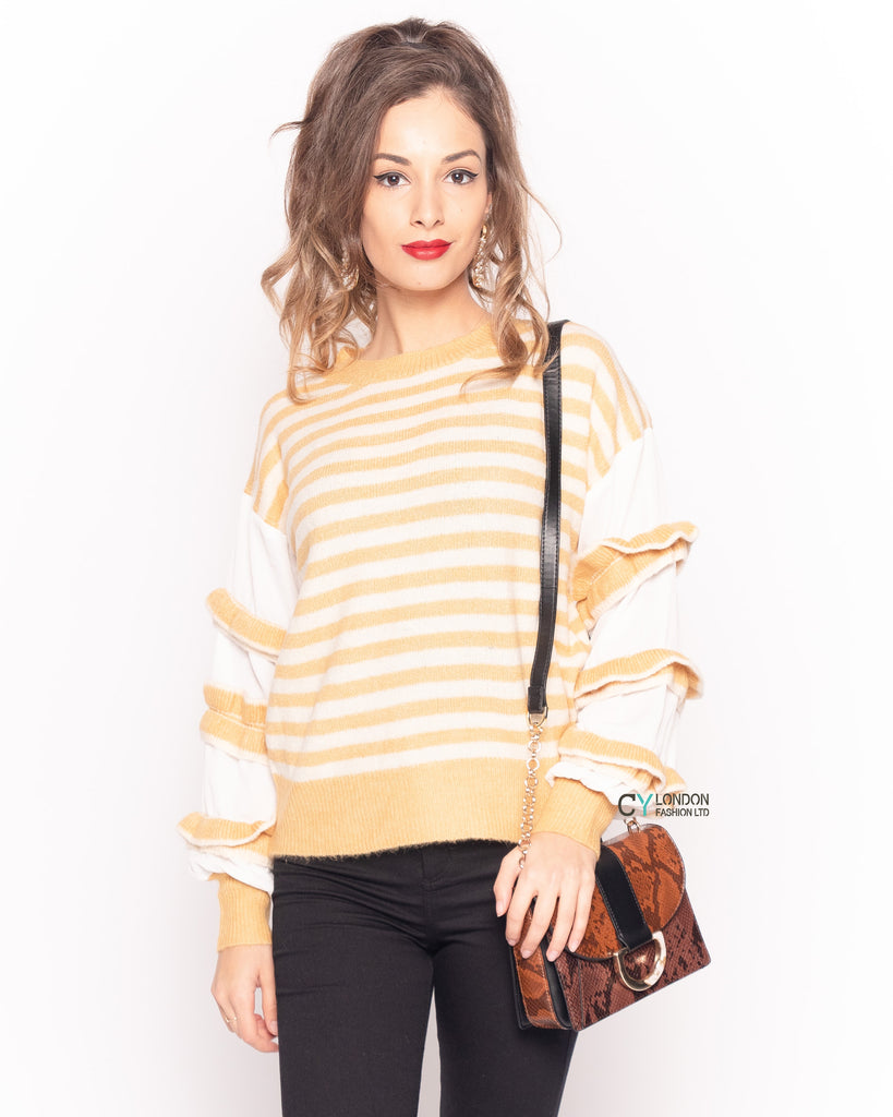 Multi layer ruffle sleeves yellow white color stripe jumper top