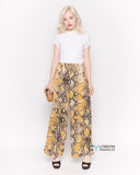 Silky Wide Leg Trousers in Yellow Snake Print