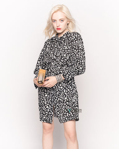 Long Sleeve Shirt Dress with Tie Waist in Black and White Print