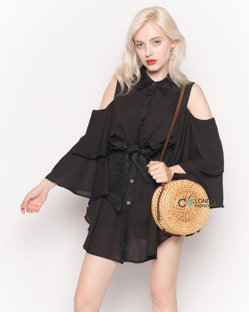 Cold Shoulder Shirt with Flared Sleeves and Mesh Back in Black