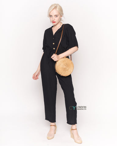 Cotton Short Sleeve Jumpsuit in  Black