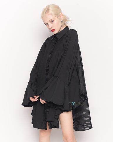 Oversized Shirt with Frilled Sleeves and Mesh Back in Black