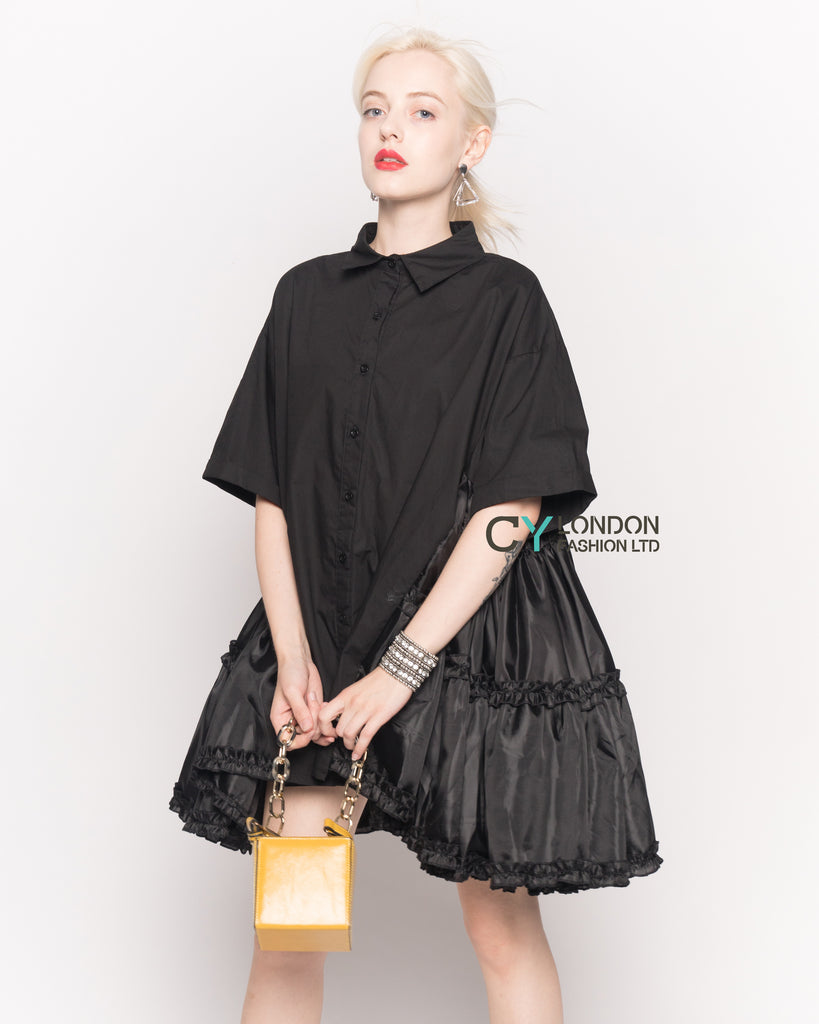 Oversized Short Sleeve Shirt with Frill Detail on Sides in Black